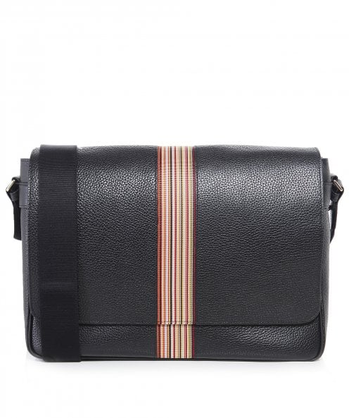 Paul Smith Pebbled Leather Signature Stripe Messenger Bag