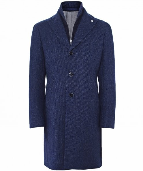 Luigi Bianchi Wool Striped Overcoat