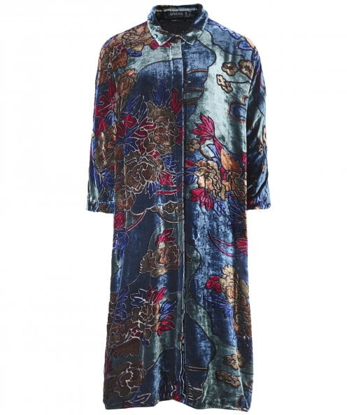Grizas Velvet Floral Shirt Dress