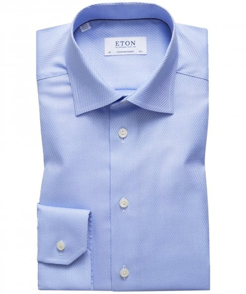 Eton Contemporary Fit Diagonal Striped Shirt