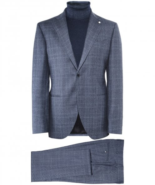 Luigi Bianchi Wool Prince of Wales Check Suit