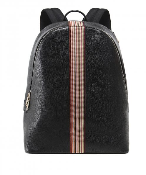 Paul Smith Leather Signature Stripe Trim Backpack