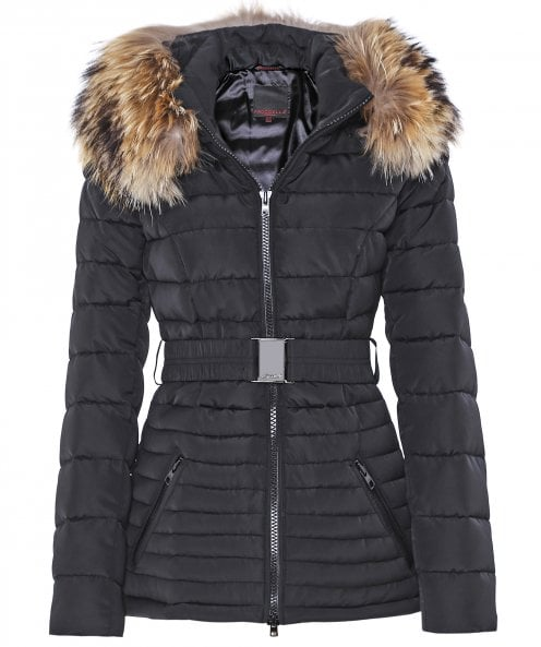 Froccella B211 Quilted Fur Trim Belted Jacket