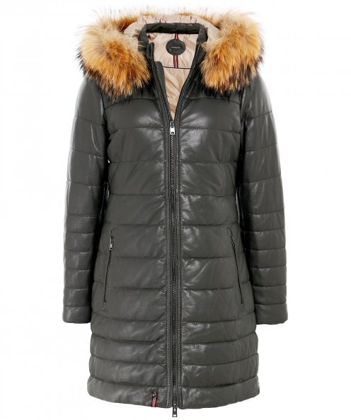 Oakwood Mary Long Fur Trim Leather Jacket