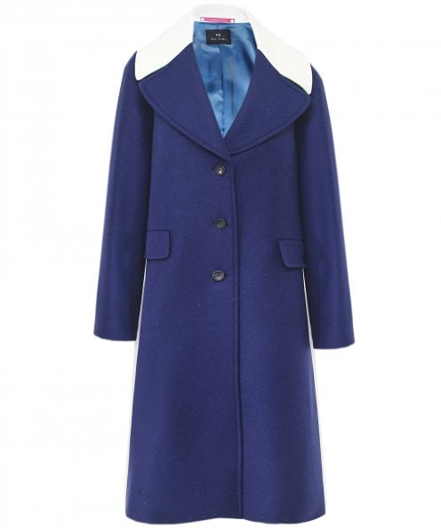 PS by Paul Smith Wool Blend Colour Block Coat