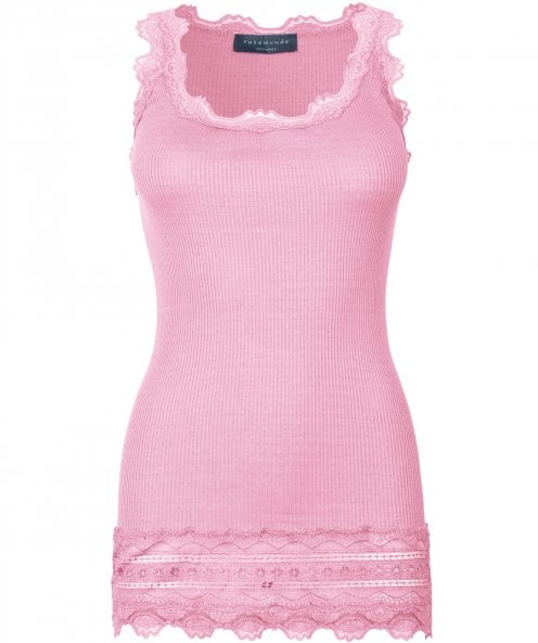 Rosemunde Silk Lace Hem Sleeveless Top