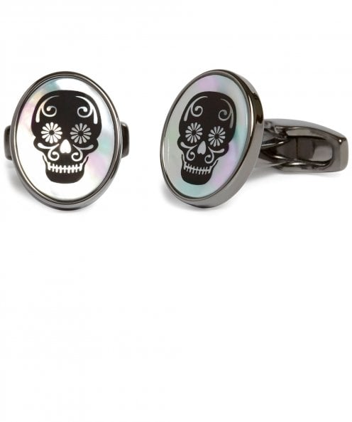 Simon Carter Mother-of-Pearl Skull Cufflinks
