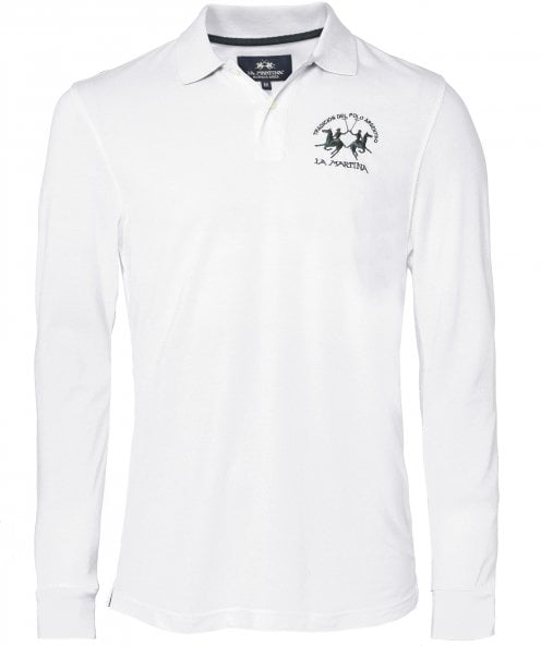 La Martina Long Sleeve Pique Polo Shirt