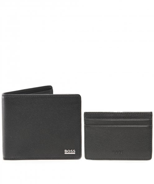 BOSS Leather Wallet and Card Holder Gift Set