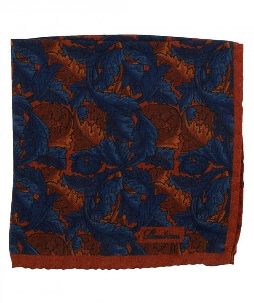 Stenstroms Wool & Silk Blend Leaf Print Pocket Square