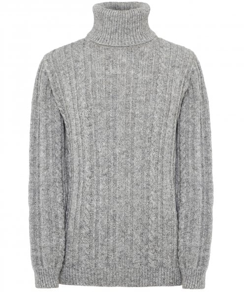 Edmund Hillary New Wool Cable Knit Roll Neck Jumper
