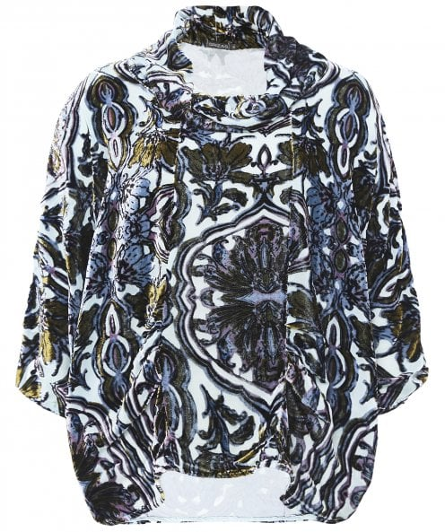 Grizas Velvet Printed Cowl Neck Top