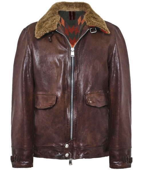 Delan Leather Leather Shearling Collar Onda Jacket