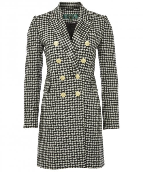 Holland Cooper Wool Knightsbridge Houndstooth Coat