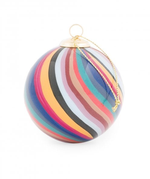 Paul Smith Hand Painted Swirl Stripe Glass Bauble