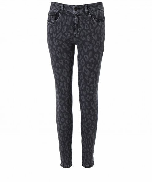 DL1961 Florence Leopard Print Cropped Skinny Jeans