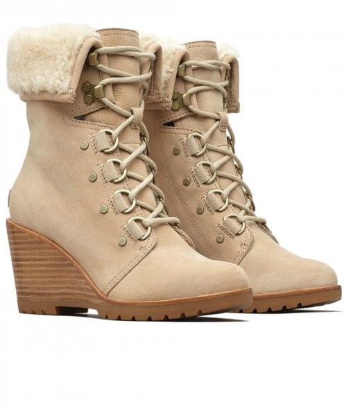 Sorel Leather After Hours Lace Shearling Boots