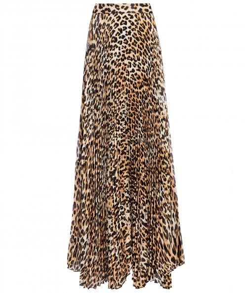 Alice and Olivia Katz Leopard Print Pleated Maxi Skirt