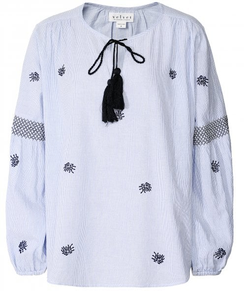 Velvet by Graham and Spencer Aimee Embroidered Tassel Tie Peasant Top