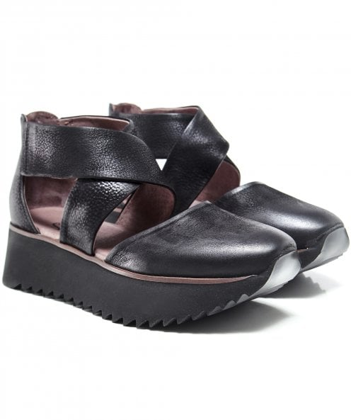 Lofina Leather Cross Wedge Shoes
