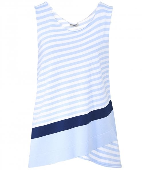 Crea Concept Asymmetric Striped Sleeveless Top