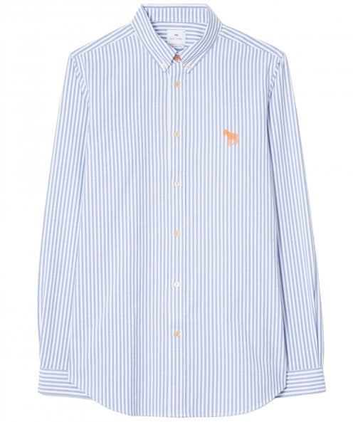 PS by Paul Smith Tailored Fit Striped Zebra Oxford Shirt