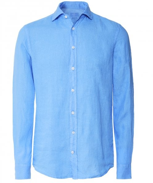Hackett Slim Fit Linen Garment Dyed Shirt