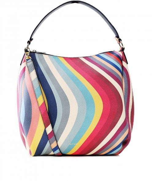 Paul Smith Leather Swirl Print Hobo Bag