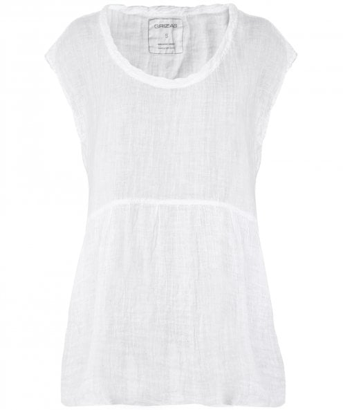 Grizas Washed Linen Twisted Neckline Top