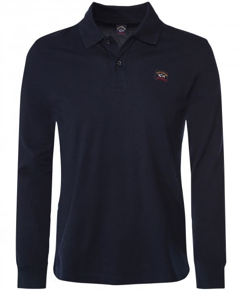 Paul and Shark Long Sleeve Pique Cotton Polo Shirt