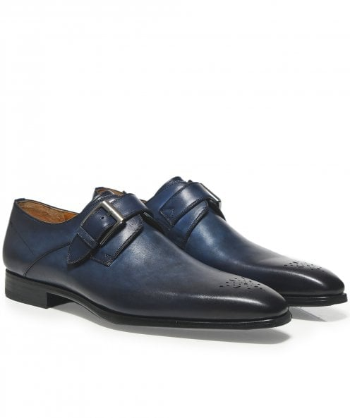 Magnanni Leather Monk Strap Thunder Shoes