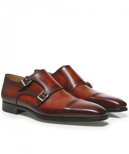 Magnanni Leather Double Monk Strap Thunder Shoes