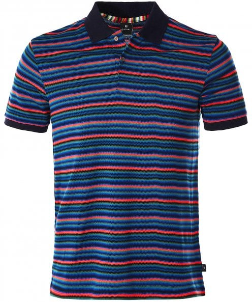 PS by Paul Smith Knitted Cotton Jacquard Striped Polo Shirt