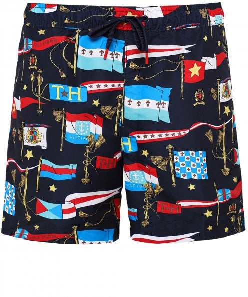 Tommy Hilfiger Slim Fit Flag Print Swim Shorts