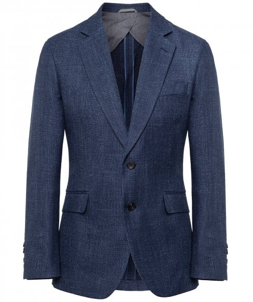 Hackett Linen Blend Textured Tweed Jacket