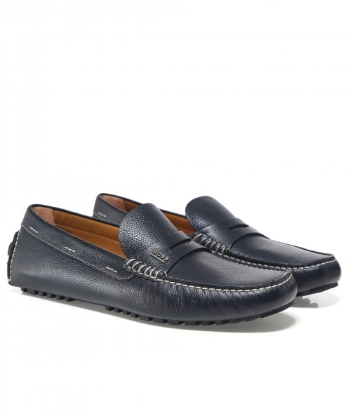 BOSS Tumbled Leather Driver_Mocc_grhw Loafers