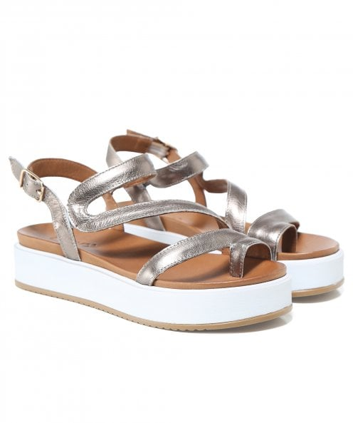 Inuovo Leather Toe Post Wedge Sandals