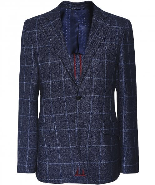 Hackett Linen Blend Windowpane Check Jacket