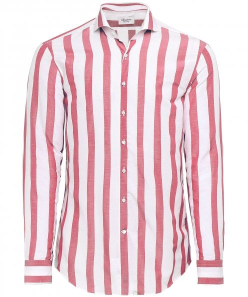 Stenstroms Fitted Body Linen Blend Broad Striped Shirt