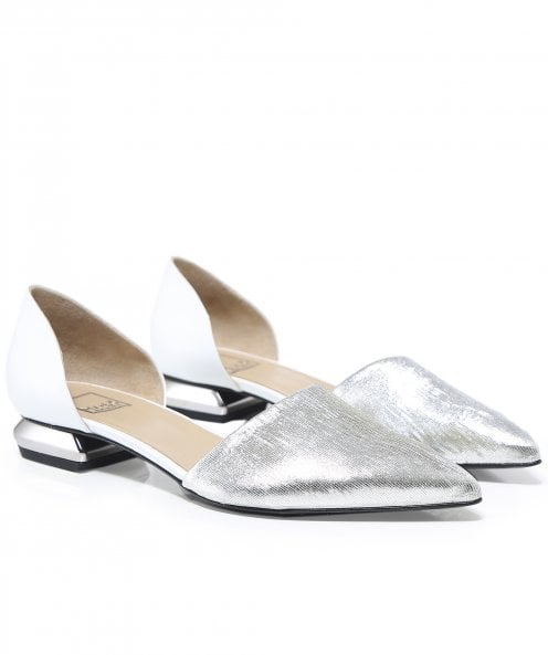 Ma&Lo Leather Metallic Contrast Flats