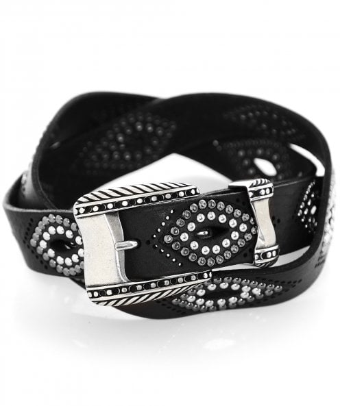 Nanni Studded Leather Cut Out Belt