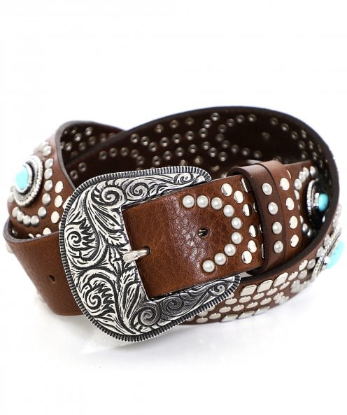 Nanni Western Buckle Studded Leather Belt