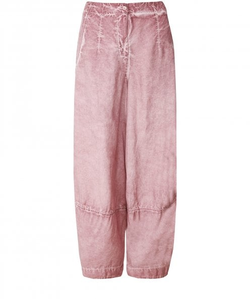Grizas Silk and Linen Blend Washed Effect Trousers