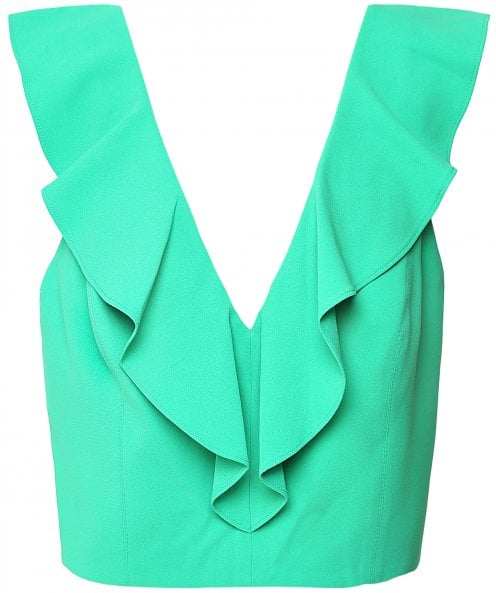 Alice and Olivia Pria Cropped Ruffle Top