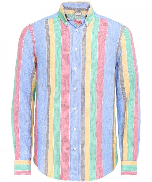 Hackett Slim Fit Linen Striped Shirt