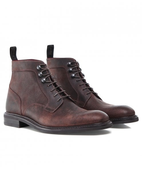 Loake Waxed Leather Crow Derby Boots