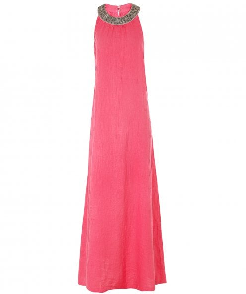 120% Lino Linen Beaded Neckline Maxi Dress