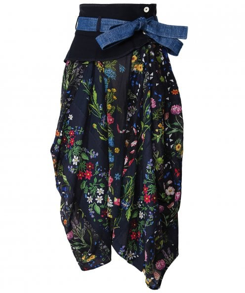 High Avid Tie Waist Floral Skirt