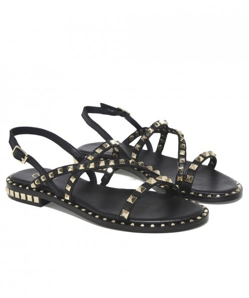 Ash Leather Peace Studded Sandals