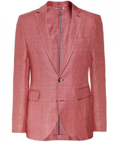 Hackett Linen Blend Prince of Wales Check Jacket
